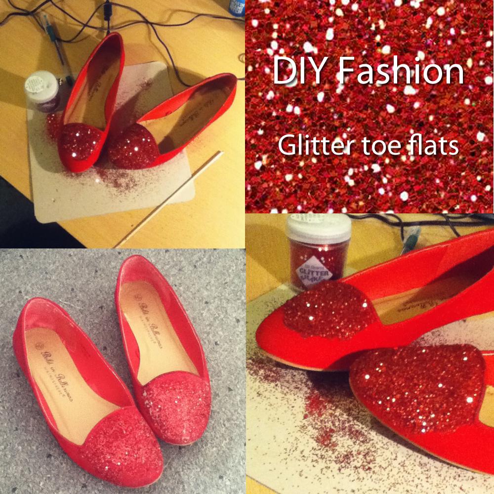 DIY Glitter toe flats