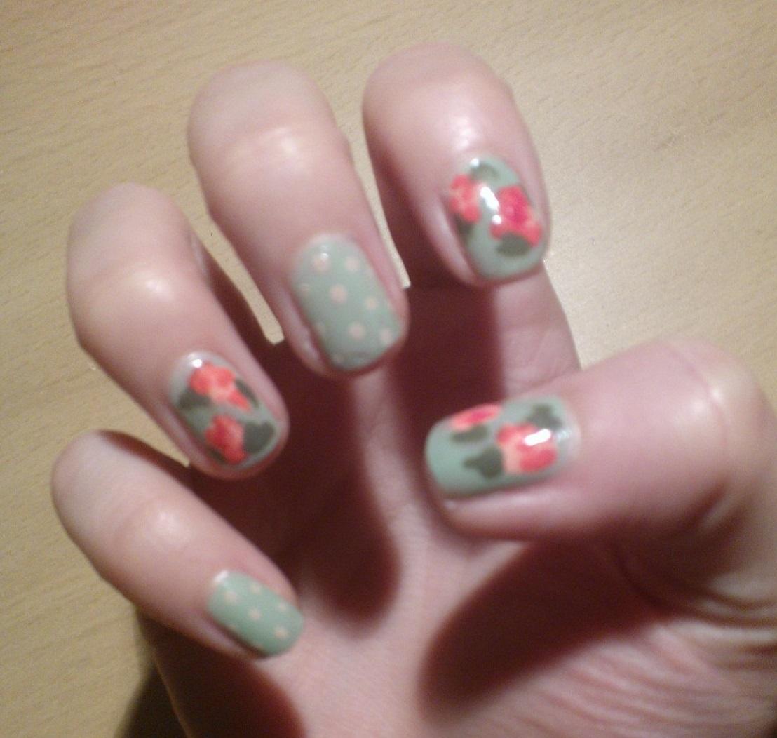 Floral and Polka Dot Nails