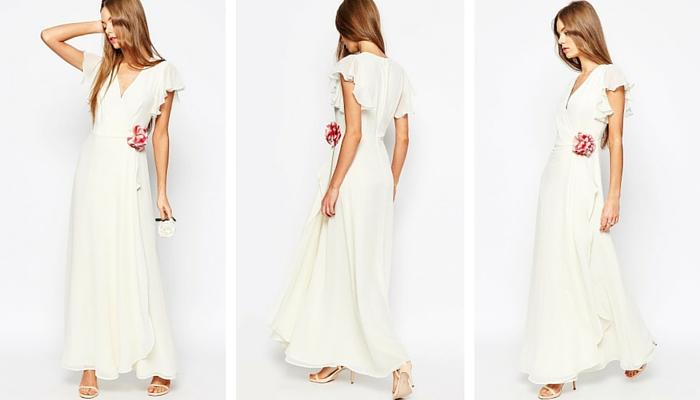 ASOS WEDDING Corsage Wrap Maxi Dress